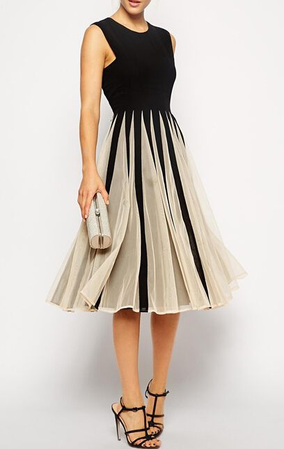 ärmelloses plissiertes Kleid mit Tüll-kontrastfarbig 15.64