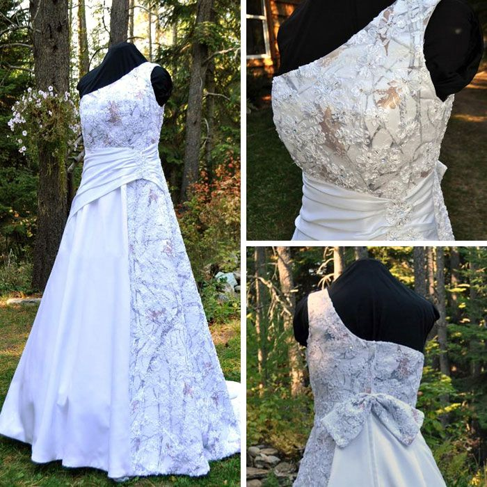 White Camo and Lace Wedding Dress