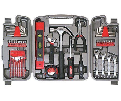 Around The House Tool Kit Essentials Piece Set 53pc Repair Garage Hammer #ApolloTools