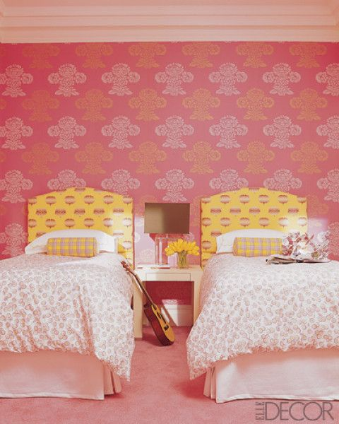 Reverse prints used on walls/headboards provides a lovely contrast warm pink/sunny yellow