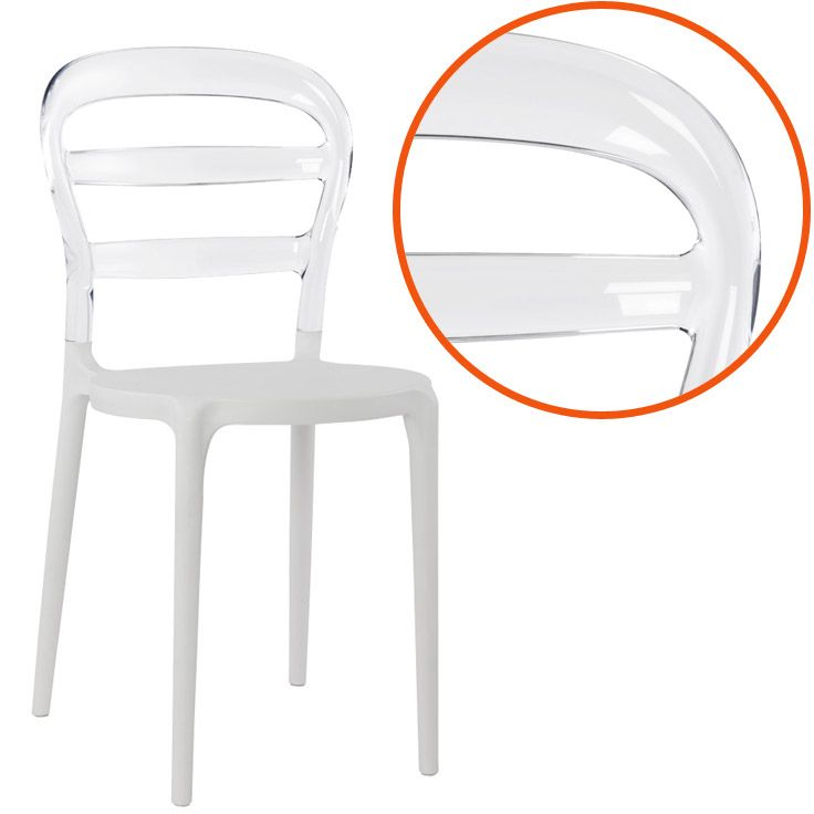 Chaise design 39 baro 39 blanche et transparente en mati re plastique - Chaise plastique transparente ...