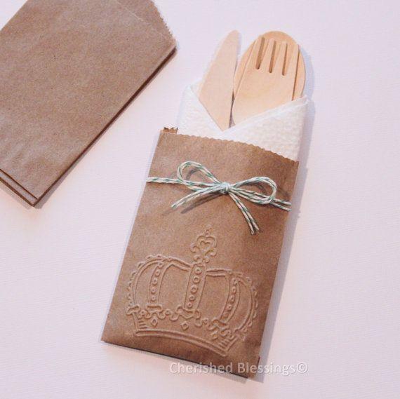 Wooden Cutlery Silverware Bags Table Setting 20 Rustic ...