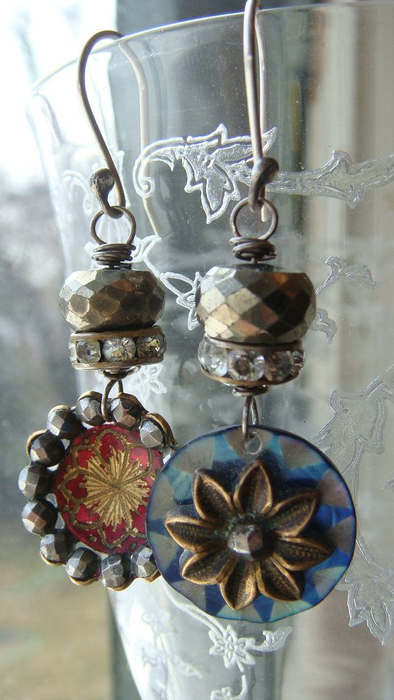 Assemblage Antique Button and Pyrite Earrings by CobwebPalace, $46.00