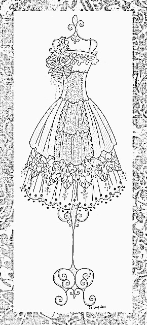 vintage dress coloring pages | 10+ images about Clothing Dress Coloring For Adults Art ...