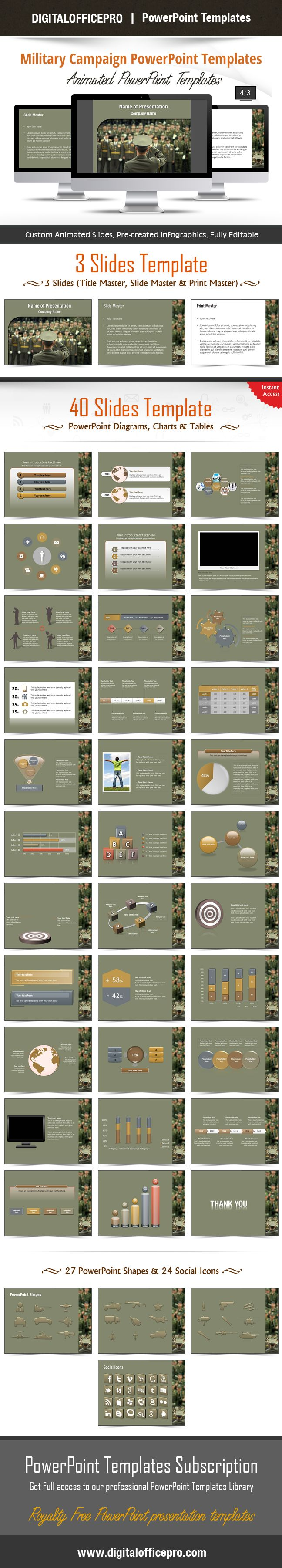 Impress and Engage your audience with Military Campaign PowerPoint Template and Military Campaign PowerPoint Backgrounds from DigitalOfficePro. Each template comes with a set of PowerPoint Diagrams, Charts & Shapes and are available for instant download.