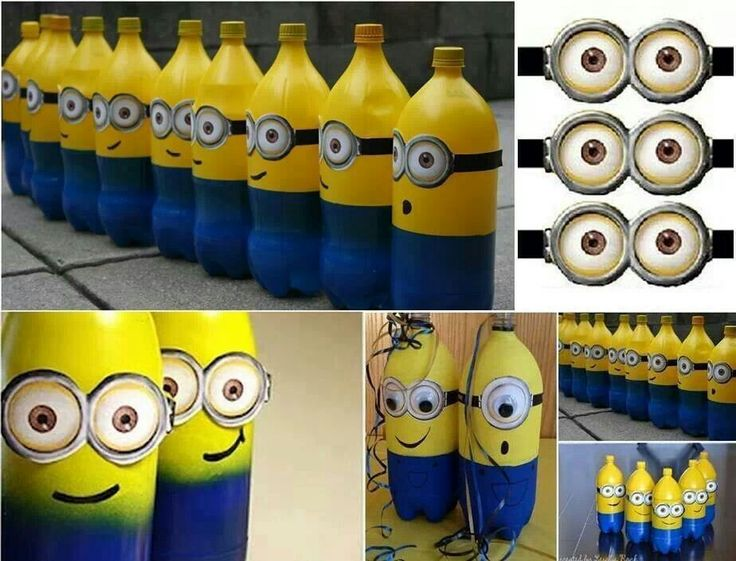 Diy minion mineral water bottle bowling bday pinterest for Diy mineral water bottle