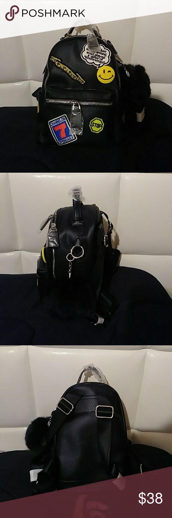 Mini Fashion Emoji Backpack Trendy mini black backpack, large enough to keep a 17 in tablet Bags Backpacks