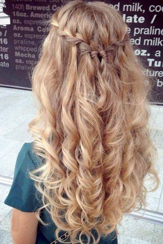 Wedding Hairstyles Half Up Half Down With Curls And Braid ❤︎ Wedding planning ideas & inspiration. Wedding dresses, decor, and lots more. #weddingideas #wedding #bridal
