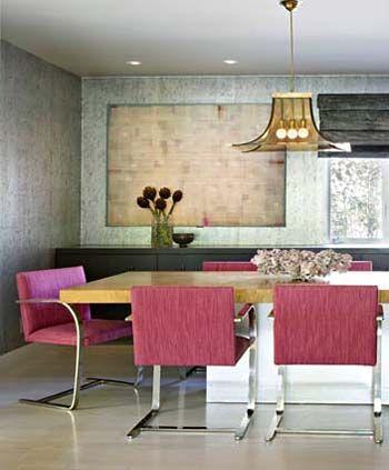 Jamie Bush fuchsia Brno dining chairs: Interior Design, Dining Rooms, Jamie Bush, Color, Chairs, Interiors, Diningroom