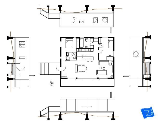 All Four Elevations With The Floor Plan Click Through To Www Houseplanshelper Com For More On Rea Free Floor Plans Floor Plan Symbols Stairs Outside The House