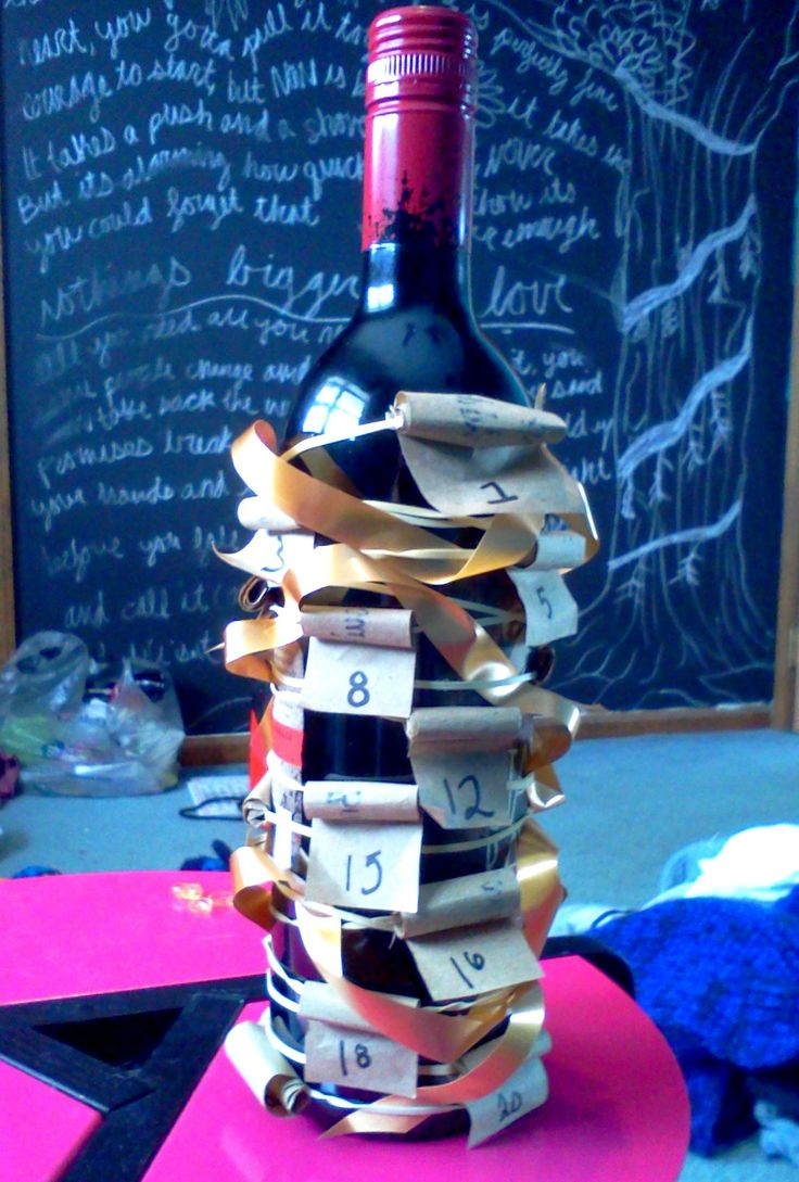 21st birthday gift I made for my boyfriend! Bottle of red wine, rubber bands, and secret messages written on 21 sheets of paper for him to unroll.