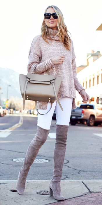 Amy Jackson + bright and chic + chunky knit sweater + skinny suede boots.  Sweater: Chicwish, Jeans: Nordstrom, Boots: Stuart Weitzman, Handbag: Celine, Sunglasses: Celine.
