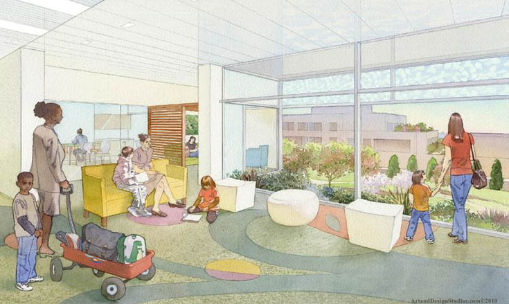 architectural illustration - healtcare - Children's Hospital waiting