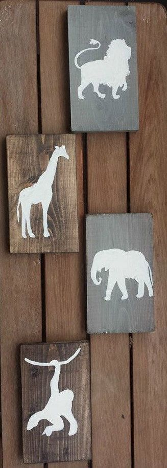 Rustic jungle animal nursery set. This is a simple, timeless four piece set, hand painted on reclaimed wood. Great wall art to welcome home baby