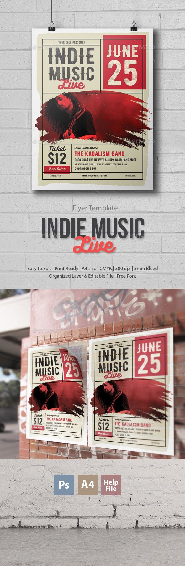 Indie Music Flyer - Photoshop  #indie #party #guitar • Click here to download ! http://graphicriver.net/item/indie-music-flyer-photoshop/15968091?ref=pxcr