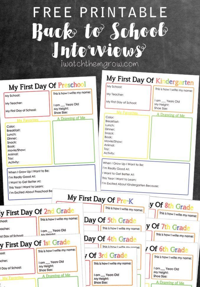 Printable Back To School Interview School Interview School