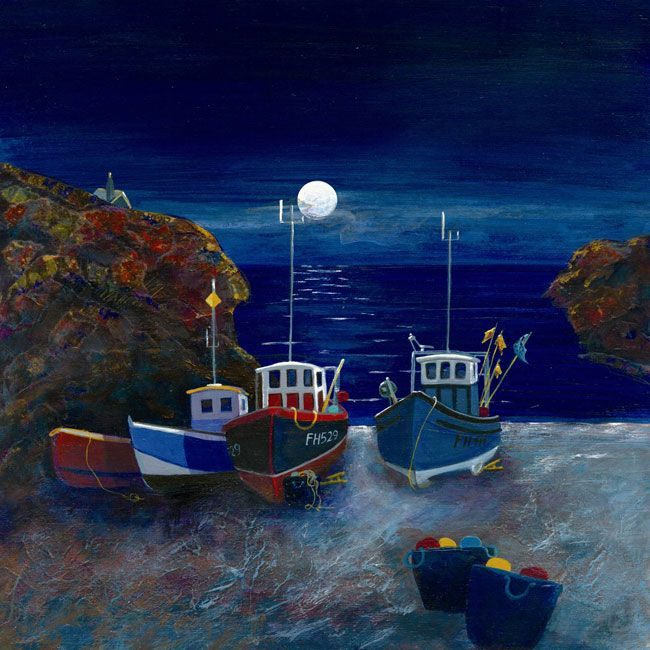 Cadgwith Boats – Moonlight   Gilly Johns