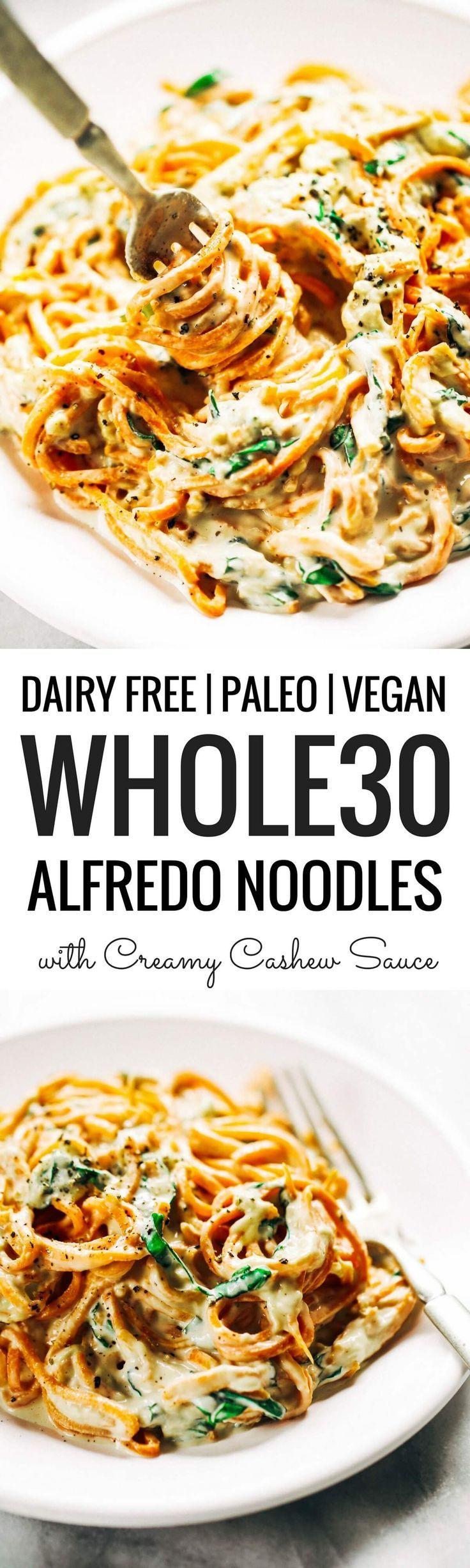 Whole30 creamy carrot noodle alfredo- made with vegan cashew cheese sauce. Whole30, paleo, and dairy free. An easy healthy family recipe everyone will love. Perfect for meal prep; can be made ahead and frozen- pulled out at your convenience! Easy whole30