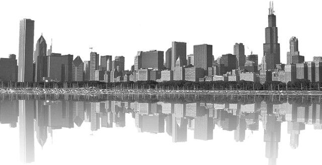 Grayscale Cell-Shaded Chicago Skyline... The city I love ...
