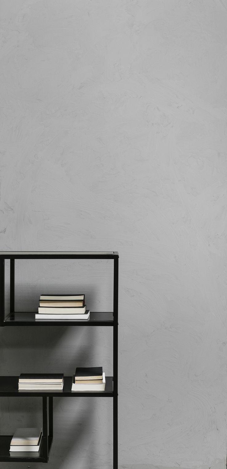Artist Home, beton look, betonverf, grijze muur, zwarte stellingkast   concrete look, concrete paint, grey wall, black shelf   KARWEI 9- 2017