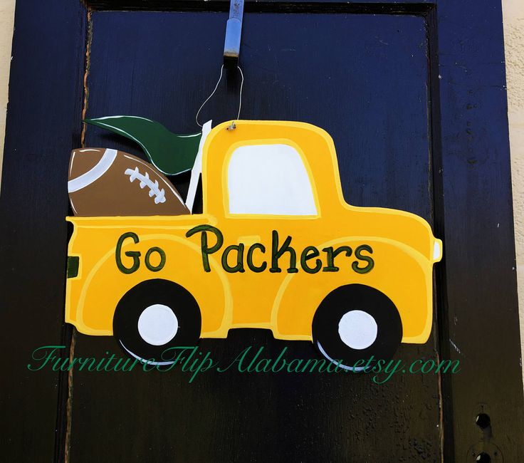 Packers wood door hanger,Green Bay packers wreath,Green Bay football truck door hanger,Green bay football door hanger,Green Bay wreath by Furnitureflipalabama on Etsy