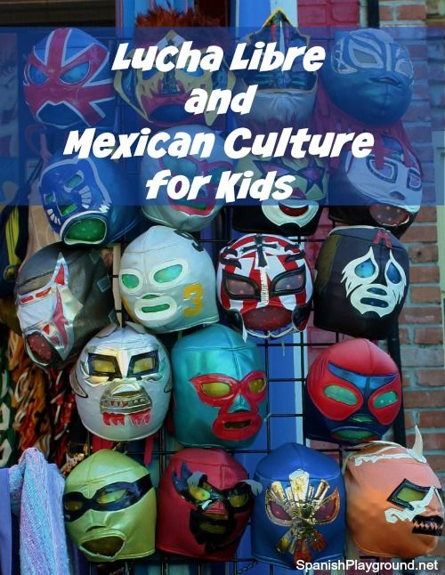 Mexican culture through lucha libre! Resources to share with kids learning Spanish. Fun books, movies, TV series, photos and songs related to lucha libre.