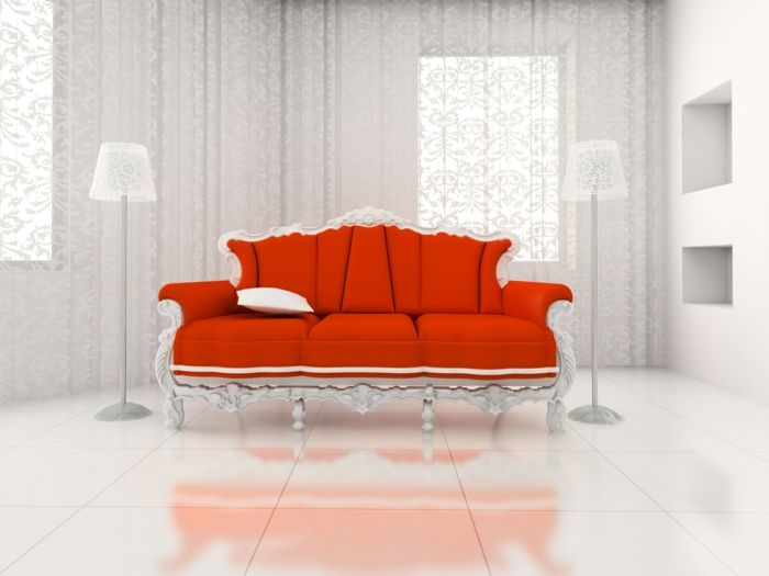 Rotes Sofa ins Innendesign einbeziehen - Inspirierende rote Sofas - http://freshideen.com/mobel/rotes-sofa.html