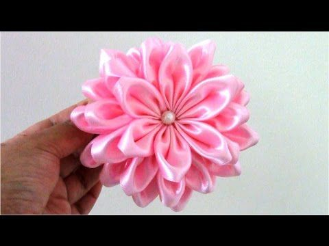 DIY Kanzashi flower,ribbon flower tutorial,how to,easy,kanzashi flores de cinta - YouTube