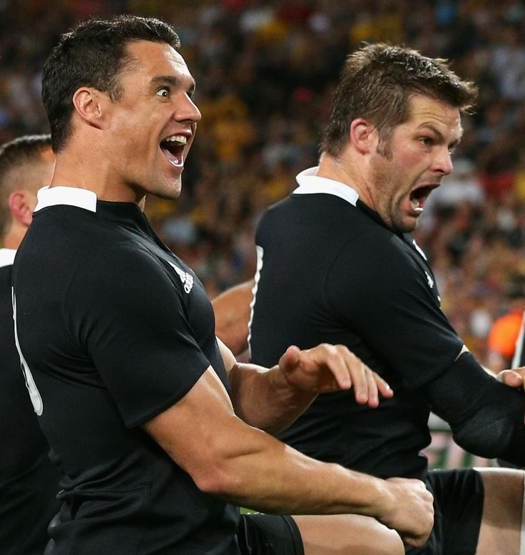 Tough guys Dan Carter and Richie McCaw  Haka time