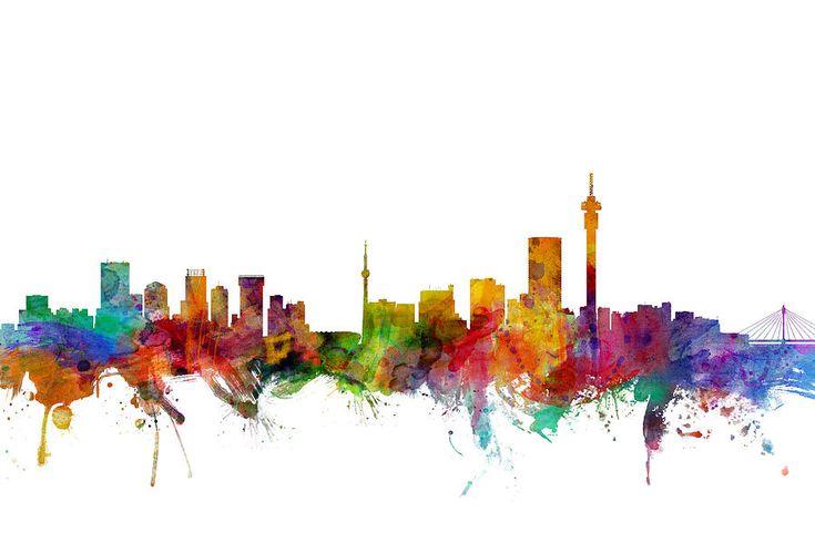 Johannesburg South Africa Skyline Digital Art by Michael Tompsett