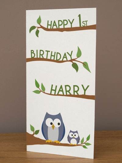 New personalised Owl 1st Birthday card £3.99. Half price when purchased with any Doodlebump print