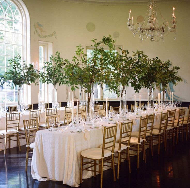 love the long rectangle tables at a wedding instead of round with tall simple arrangements and gold chiavari chairs #MarieeAmi #Weddings #Reception