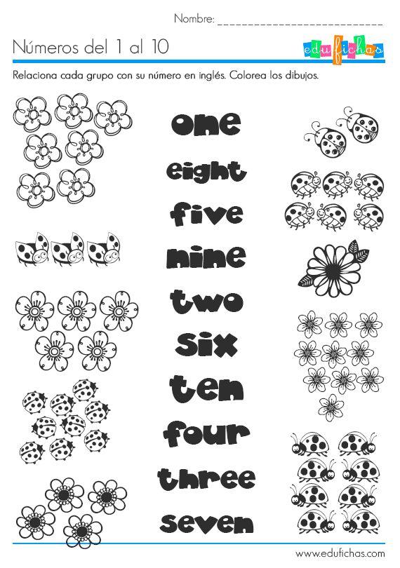 Los números en inglés. Ficha educativa para aprender inglés.                                                                                                                                                                                 Más