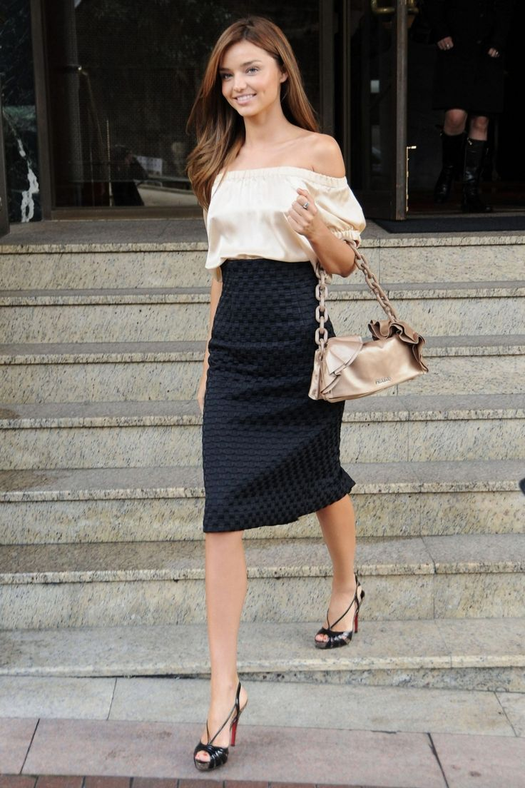 off shoulder blouse and knee length pencil skirt. want.