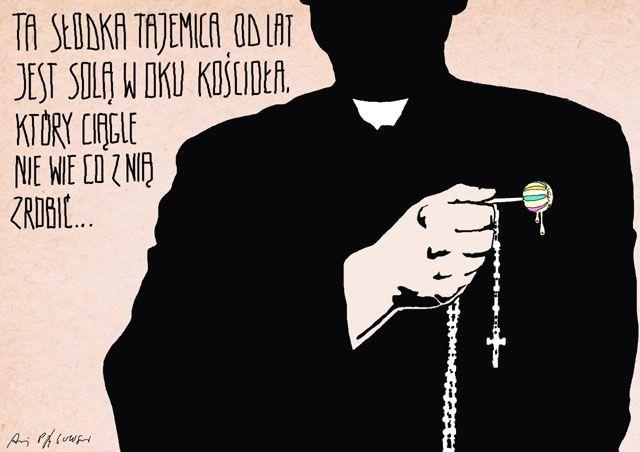 """Ta słodka tajemnica jest solą w oku Kościoła... - z galerii Pągowski wirtualnie. Galeria prac Andrzeja Pągowskiego Według ujawnionych statystyk w ciągu 10 lat do watykańskiej kongregacji napłynęło z całego świata 4 tysiące sygnałów o przypadkach pedofilii wśród duchowieństwa.  W związku z nasilającym się skandalem pedofilii, polski papież doprecyzował wydaną przez siebie w 1988 roku Konstytucję Apostolską Pastor bonus (Dobry Pasterz), w której ustalił, że """"wykroczenia przeciwko wierze oraz…"""