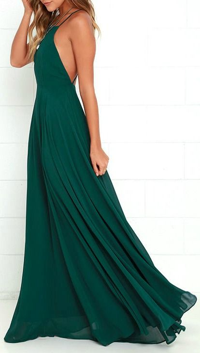 The Mythical Kind of Love Dark Green Maxi Dress is simply irresistible in every single way! Lightweight Georgette forms a fitted bodice with princess seams and an apron neckline supported by adjustable spaghetti straps that crisscross atop a sultry open back. A billowing maxi skirt cascades from a fitted waistline into an elegant finale, perfect for any special occasion! #lovelulus