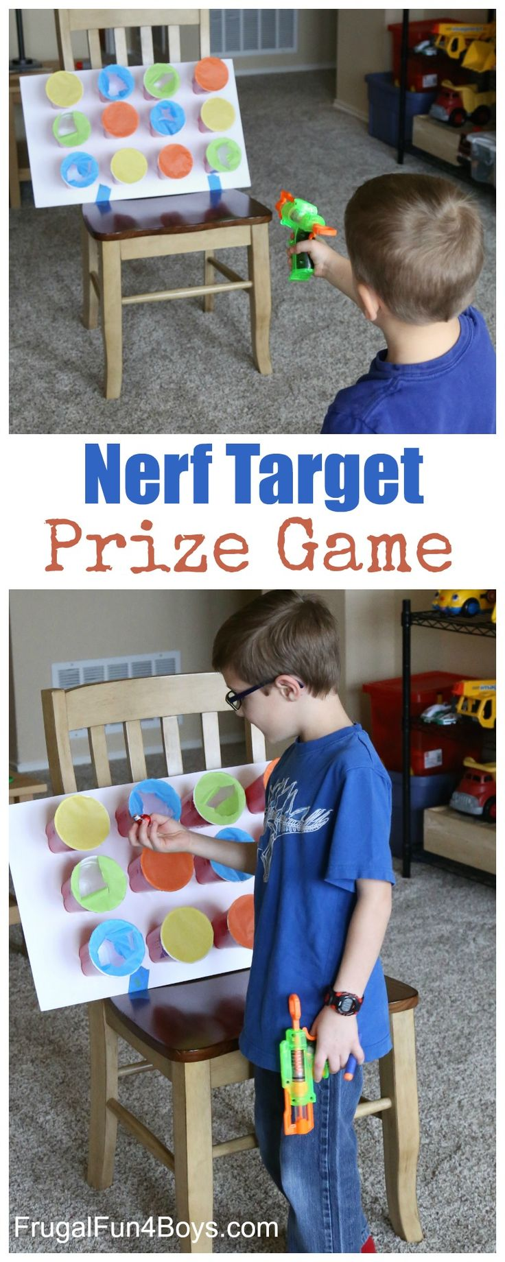 Nerf Target Prize Game - Hide prizes in the cups, and kids get one when the shoot through the paper! Fun party game.