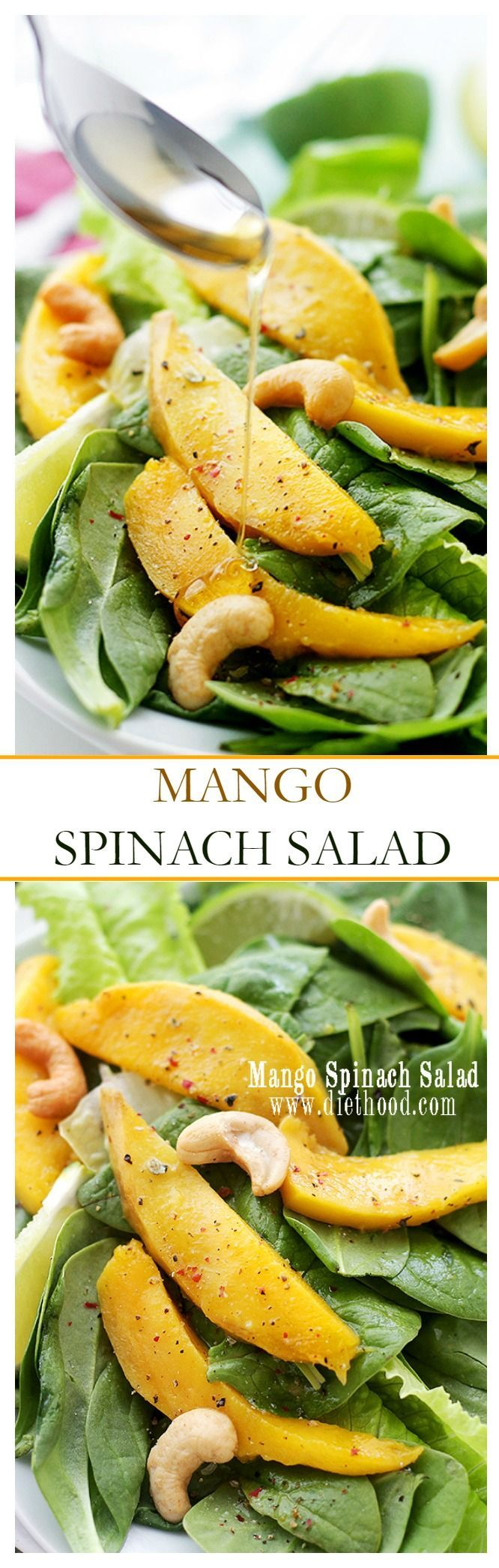 Mango Spinach Salad - Baby Spinach leaves tossed with slices of fresh mango, cashews, and a homemade Honey Lime Dressing.
