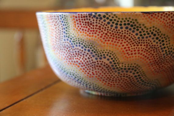 Large Rainbow Dotted Bowl