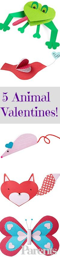 Kids will go WILD for these animal-inspired #Valentines they can craft at home, then hand out at school.