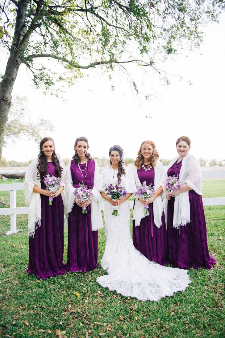 Purple Bridesmaid Dresses White Winter Shawl | Jen Hughes Photography https://www.theknot.com/marketplace/jen-hughes-photography-rockwall-tx-893495