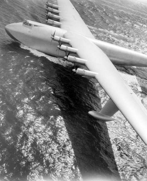 "Howard Hughes's H-4 Hercules - The ""Spruce Goose"" - It flew only once on Nov. 2, 1947. The Hercules is the largest flying boat ever built and has the largest wingspan of any aircraft in history. They really weren't sure it would lift off - but it did."