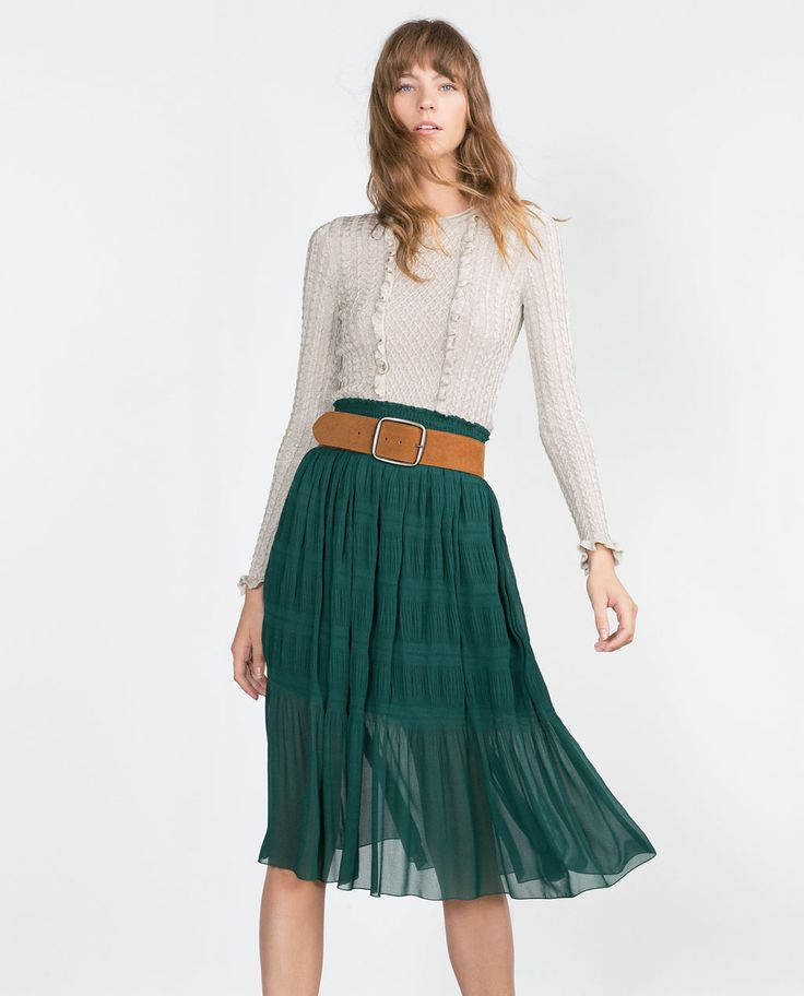 PRINTED SKIRT.-Skirts-WOMAN | ZARA United States  Absolutely LOVE this entire outfit!! Very 70s - very me!  And the green of the skirt is stunning especially with a thick neutral belt!  Perfect fall look! Hopefully skirt is available during their semi annual sale!