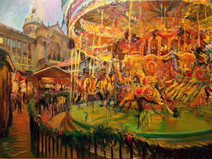 Year of the Boat, Oil Painting 56 - The German Market, Birmingham