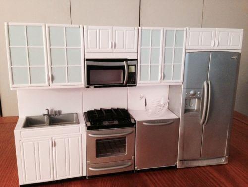Barbie Dolls Hello Dreamhouse Dollhouse W Kitchen: Mint Barbie Kenmore Elite Kitchen Furniture Dream House