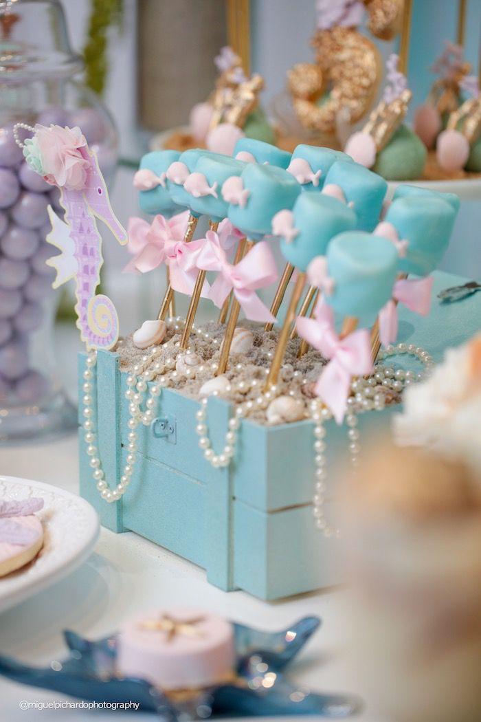 Cake pops from a Pastel Mermaid Birthday Party via Kara's Party Ideas…