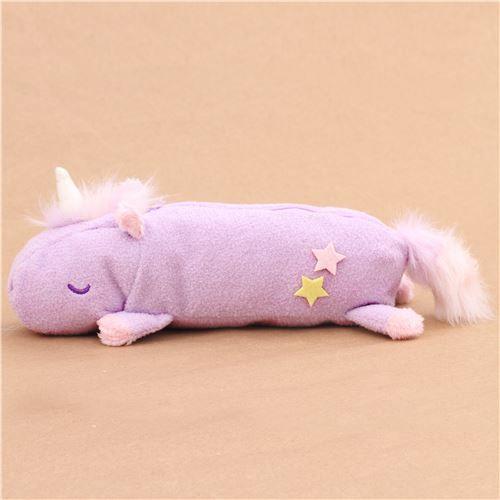 cute fluffy plush light purple unicorn pencil case from Japan 1