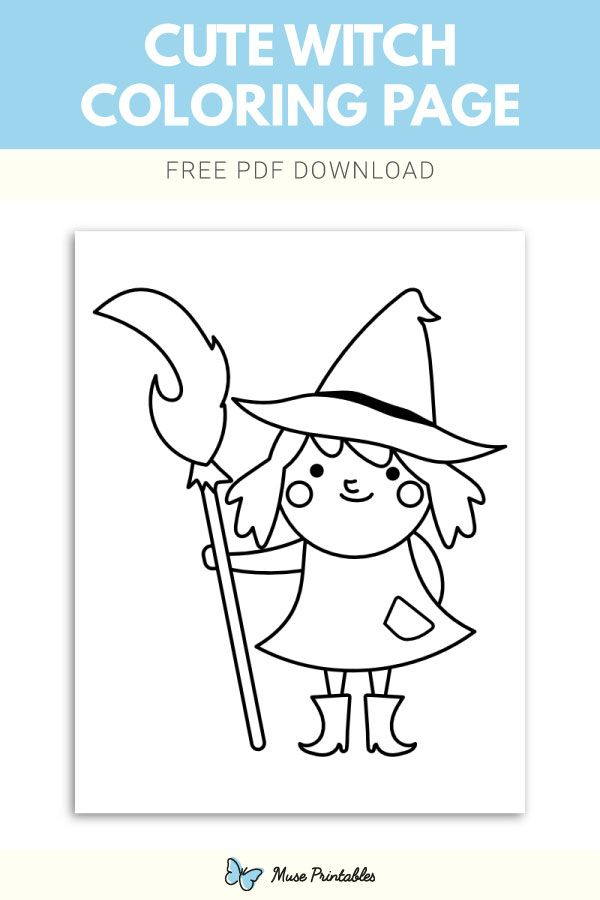 Free Cute Witch Coloring Page Witch Coloring Pages Coloring Pages Witch