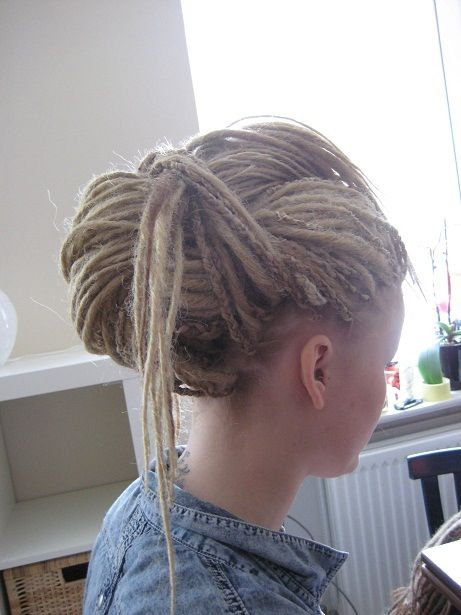 Dreads updo..... I love the small braids