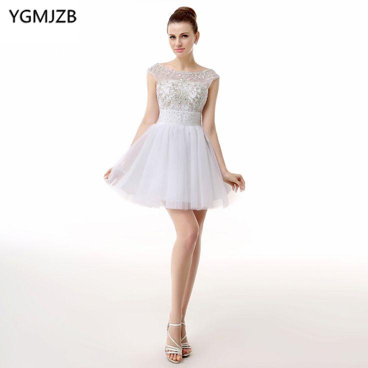 cheap coctel white dress